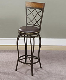 Great Fusion Metal & Solid Wood Swivel Barstool, Brown (Set Of 2)
