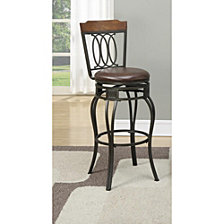 Elegant Metal & Solid Wood Swivel Barstool, Black (Set Of 2)