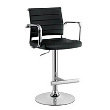 Modern Leatherette Padded Metal Bar Stool With Arms
