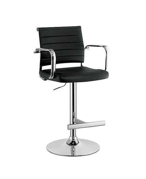 Benzara Contemporary Leatherette Padded Metal Bar Stool with Arms
