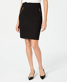 JM Collection Zippered-Pocket Tummy-Control Skirt, Created for Macy's