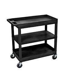 "32"" x 18"" Utility Cart with Two Tub/One Flat Shelves"
