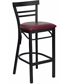 Clickhere2shop Ladder Back Metal Restaurant Bar Stool with Vinyl Seat