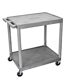 Clickhere2shop Utility Cart with Two Shelves Structural Foam Plastic - Gray
