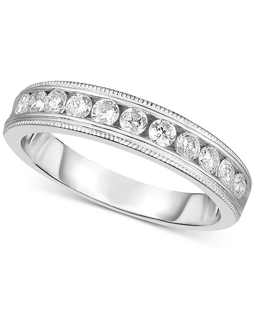 Macy's Diamond Bead Work Channel-Set Band (3/8 ct. t.w.) in 14k White Gold