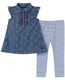 Tommy Hilfiger Toddler Girls 2-Pc. Anchor-Print Tunic & Striped Leggings Set