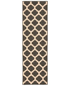 "CLOSEOUT! Surya  Alfresco ALF-9584 Black 2'3"" x 11'9"" Runner Area Rug, Indoor/Outdoor"
