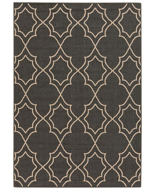 "Surya Alfresco ALF-9590 Black 3' x 5'6"" Area Rug, Indoor/Outdoor"