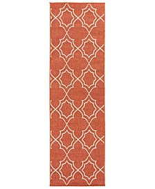 "Alfresco ALF-9591 Rust 2'3"" x 7'9"" Runner Area Rug, Indoor/Outdoor"