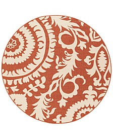 "Alfresco ALF-9613 Rust 8'9"" Round Area Rug, Indoor/Outdoor"