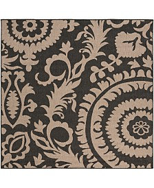 "Surya Alfresco ALF-9615 Black 7'3"" Square Area Rug, Indoor/Outdoor"