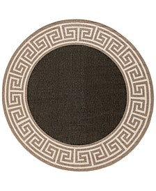 "Alfresco ALF-9626 Black 5'3"" Round Area Rug, Indoor/Outdoor"