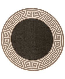 "Surya Alfresco ALF-9626 Black 7'3"" Round Area Rug"