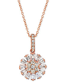 """Le Vian Baguette Frenzy™ Nude™ and Vanilla™ Diamond Flower 20"""" Pendant Necklace (5/8 ct. t.w.) in 14k Rose Gold"""