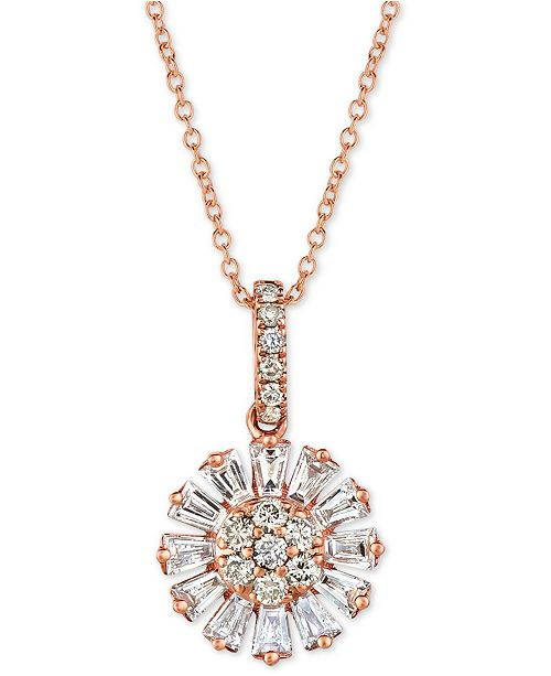 cb28ff182d7b6 Baguette Frenzy™ Nude™ and Vanilla™ Diamond Flower 20 Pendant Necklace (5/8  ct. t.w.) in 14k Rose Gold