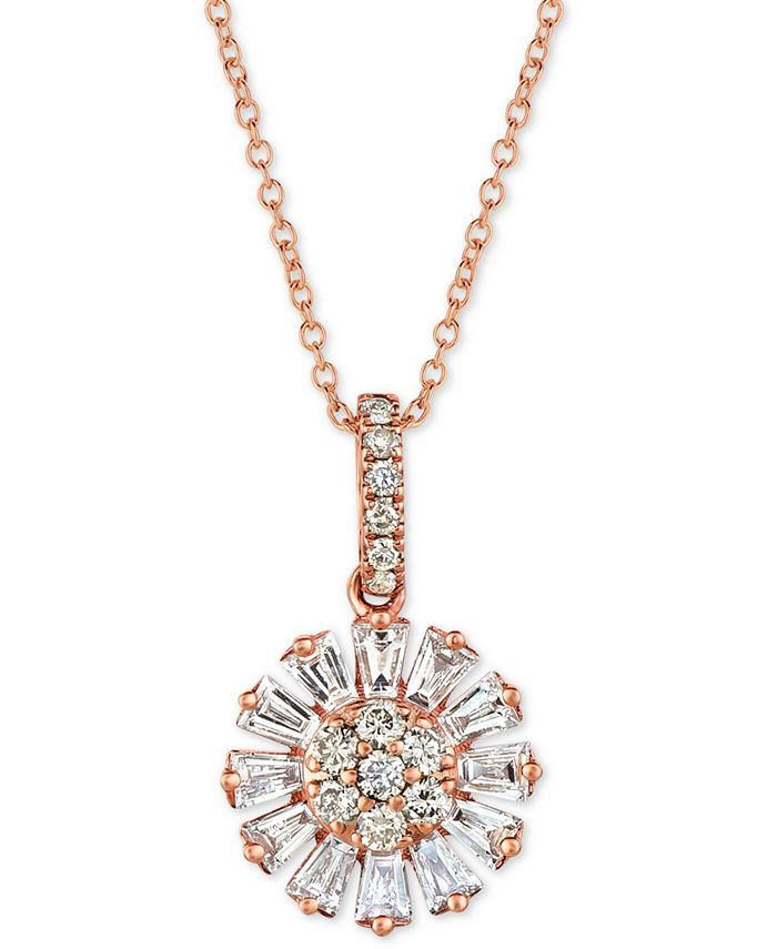 """Le Vian - Nude™ and Vanilla™ Diamond Flower 20"""" Pendant Necklace (5/8 ct. t.w.) in 14k Rose Gold"""