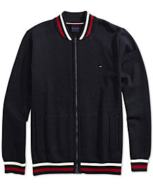 Tommy Hilfiger Adaptive Men's Basic Baseball Sweater with Magnetic Zipper