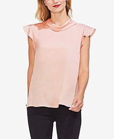 Vince Camuto Mock-Neck Ruffled Sleeve Top