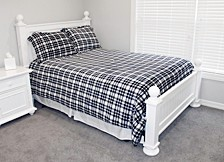 White Peacoat Navy Classic Plaid Flannel Fleece 2 Piece Twin Comforter Set