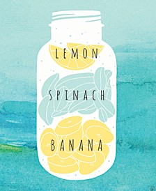 "Lemon Spinach Banana On Watercolor 24"" X 36"" Canvas Wall Art Print"