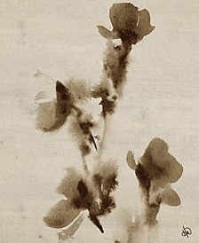 """Ink Flowers Painting 16"""" X 20"""" Canvas Wall Art Print"""