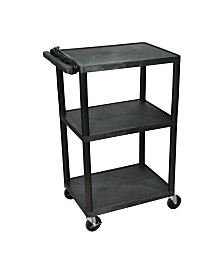 "Offex 42""H Tuffy AV Cart with Three Shelves, Electric - Black"