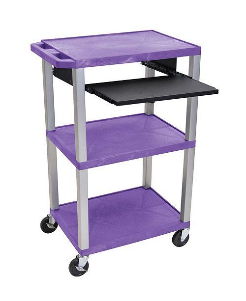 """Clickhere2shop 42""""H Tuffy 3 Shelves AV Cart with Black Pullout Shelf - Red Shelves /Nickel Legs"""