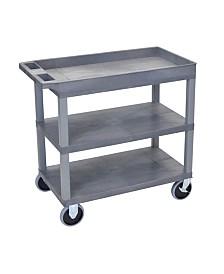 "Clickhere2shop 32"" x 18"" Two Flat/One Tub Shelves Utility Cart - Gray"