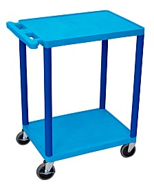 Offex Two Shelves Structural Foam Plastic Utility Cart - Blue