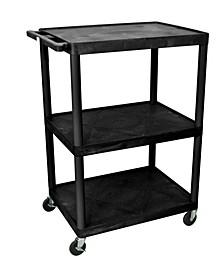 """48""""H 3 Shelves Multipurpose Utility A/V Cart - Black"""