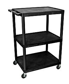 "Clickhere2shop 48""H 3 Shelves Multipurpose Utility A/V Cart - Black"
