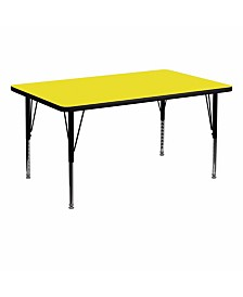 Offex 36''W x 72''L Rectangular Activity Table with 1.25'' Thick High Pressure Yellow Laminate Top and Height Adjustable Pre-School Legs