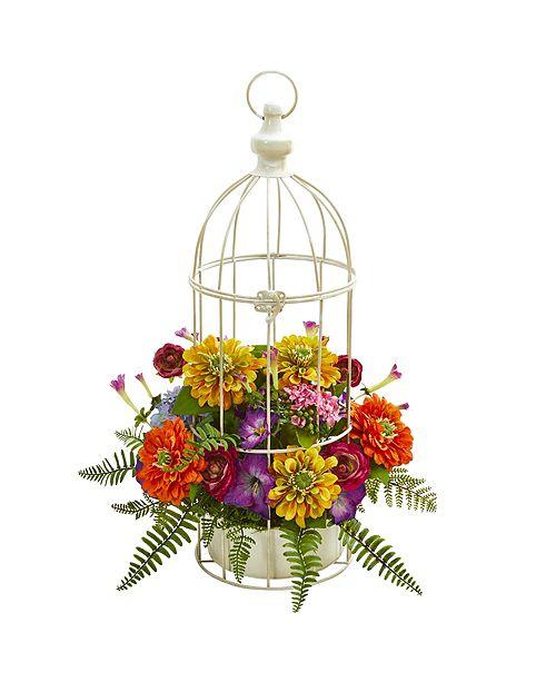 Nearly Natural Mix Flower Artificial Arrangement in Birdcage