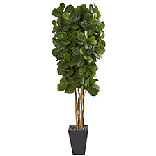Nearly Natural Fiddle Leaf Artificial Tree in Slate Planter