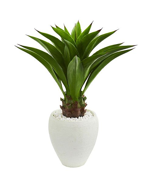 Nearly Natural Agave Artificial Plant in White Planter