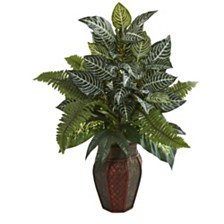 Nearly Natural Mixed Greens Artificial Plant in Decorative Planter