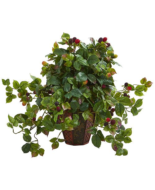 Nearly Natural Raspberry Artificial Plant in Decorative Planter