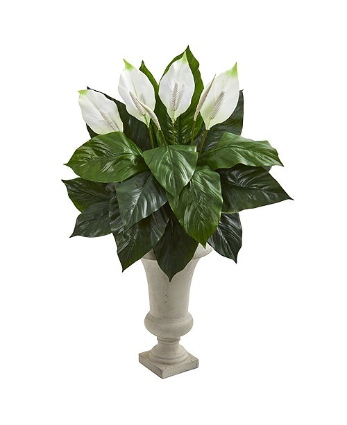 Nearly Natural Spathiphyllum Artificial Plant in Sand Colored Urn