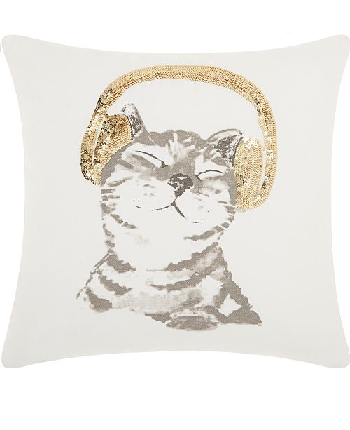 Nourison Mina Victory Trendy, Hip and New Age Dj Glitter Kitten Decorative Pillow