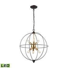 Loftin 6 Light Chandelier in Oil Rubbed Bronze with Satin Brass Accents
