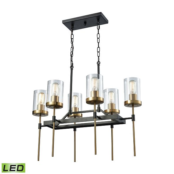 ELK Lighting North Haven 6 Light Chandelier in Oil Rubbed Bronze with Satin Brass Accents and Clear Glass