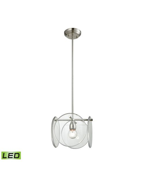 ELK Lighting Disco 1 Light Pendant in Polished Nickel with Clear Acrylic Panels