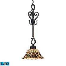 Tiffany Buckingham 1-Light Pendant in Vintage Antique with Tiffany Style Glass - LED Offering Up To
