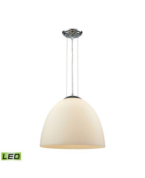 ELK Lighting Merida 1 Light Pendant in Polished Chrome with White Linen Glass
