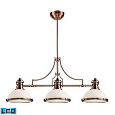 Chadwick 3-Light Island Light in Antique Copper - LED, 800 Lumens (2400 Lumens Total) with Full Scale Dimming Range