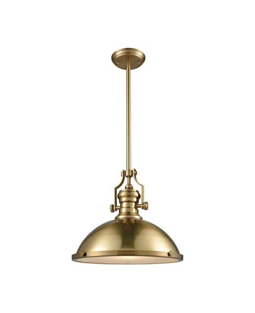 ELK Lighting Chadwick 1 Light Pendant in Satin Brass with Frosted Glass Diffuser