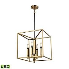 Mandeville 4 Light Chandelier in Satin Brass with Oil Rubbed Bronze Accents