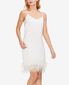 Vince Camuto Feather-Hem Sleeveless Dress
