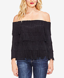 Vince Camuto Fringed Off-The-Shoulder Top