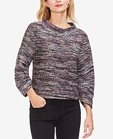 Vince Camuto Mock-Neck Shirred-Sleeve Sweater